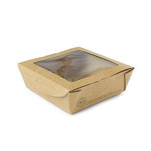 Крафт-коробка из переработанного картона с окошком из кукурузного крахмала, 660мл, 120 x 120 x 45 мм, в пачке 300 шт
