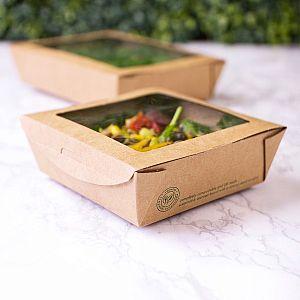 Medium salad box with a window, 660 ml, 300 pcs per pack