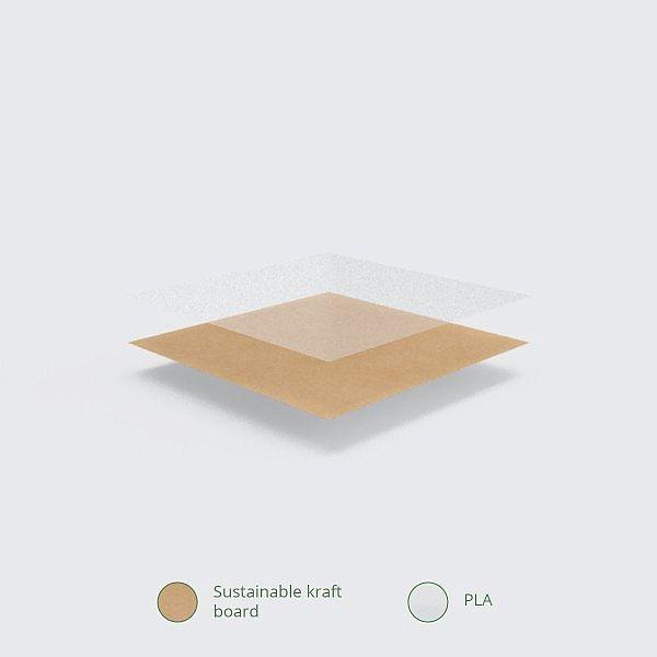 Kraft kartona kārba no pārstrādāta kartona ar lodziņu, kas izgatavots no kukurūzas cietes, 660ml, 120 x 120 x 45 mm, iesaiņots 300 gabali