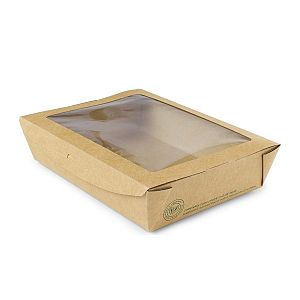 Large salad box with a window, 1100 ml, 300 pcs per pack