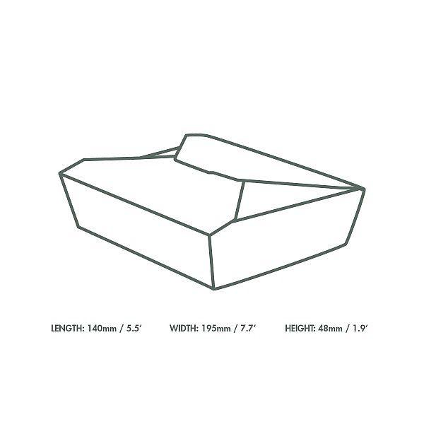 Kastīte no kraft kartonaNr.2, 1500 ml, 195 x 140 x 50 mm, iesaiņots 280 gabali