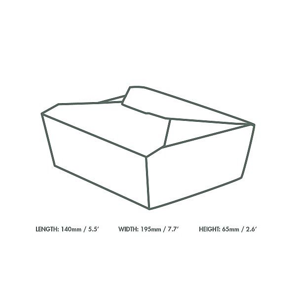 Food carton No.3, 1800 ml (19.5 x 14 x 6.5 cm), 180 pcs per pack
