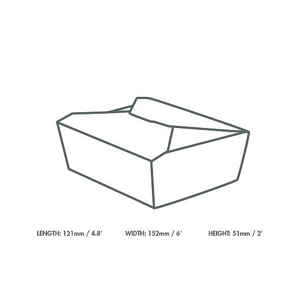 Коробка из крафт-картона No.5, 1000 мл, 150 x 120 x 45 мм, в пачке 150 шт