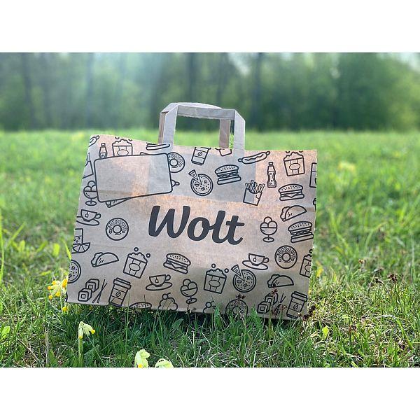 """Papīra maisiņš ar rokturiem """"WOLT"""", 350 х 170 х 245 mm, iesaiņots 250 gabali"""