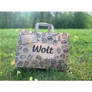 Paper bag with handles, with logo WOLT (350 х 170 х 245), 250 pcs per pack