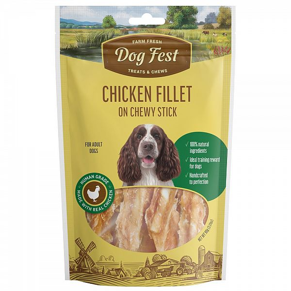 CHICKEN FILLET ON CHEWY STICK, 90g. For adult dogs