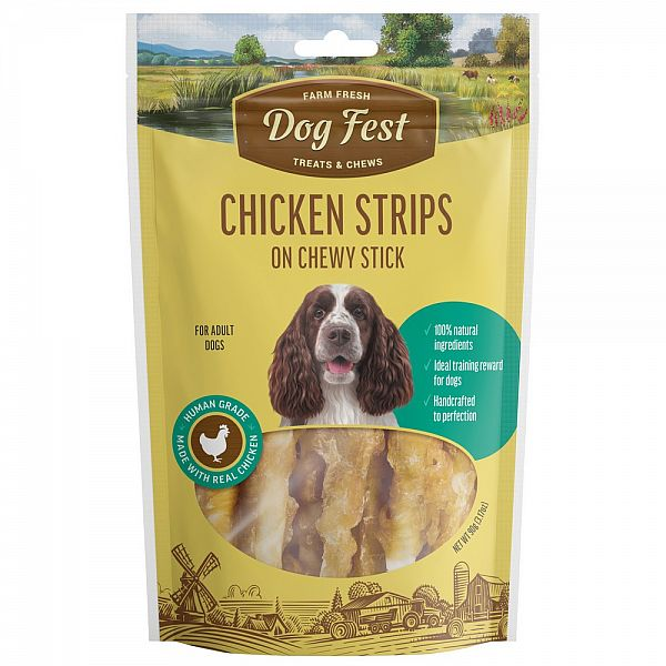 CHICKEN STRIPS ON CHEWY STICK, 90g. For adult dogs.