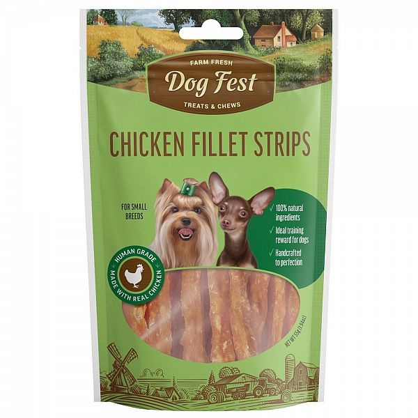 CHICKEN FILLET STRIPS, 55g. For small breeds