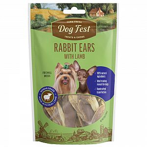 RABBIT EARS WITH LAMB, 55g. For small breeds