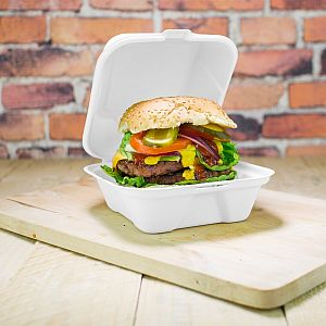 Bagasse burger box, 152 mm, 50 pcs per pack
