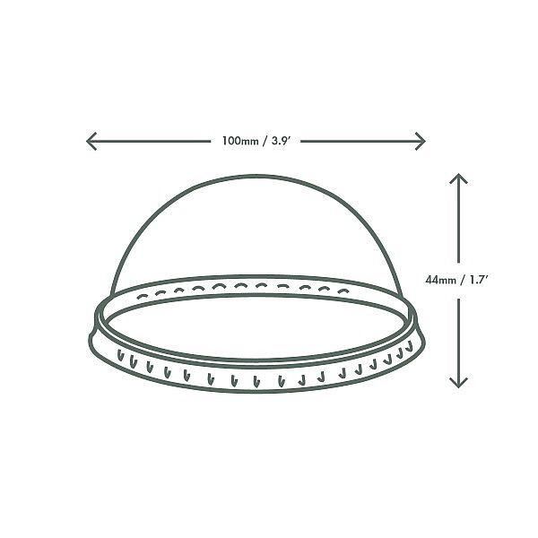 PLA dome lid without hole, 96-series, 50 pcs per pack