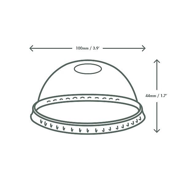 PLA dome lid with straw hole, 96-series, 50 pcs per pack