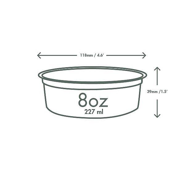 Ümmargune deli karp, PLA, 240 ml, pakis 50 tk
