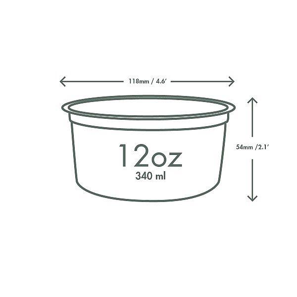 PLA round deli container, 360 ml, 50 pcs per pack