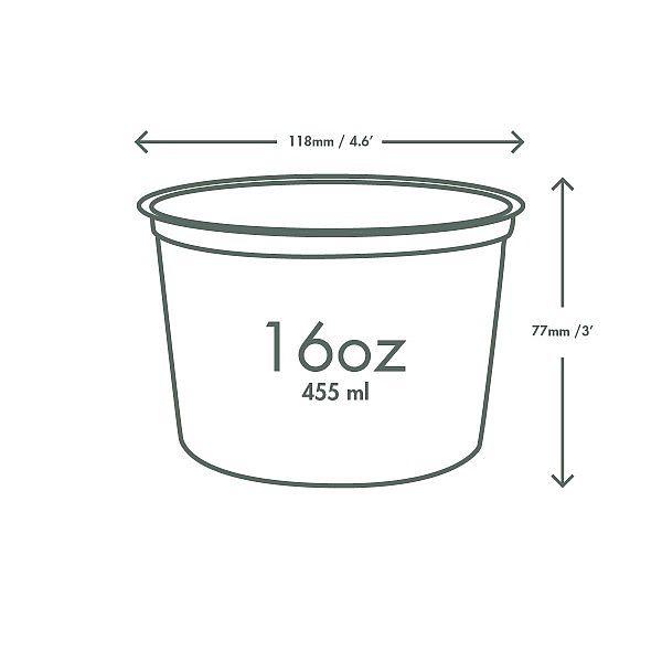 Ümmargune deli karp, PLA, 480 ml, pakis 50 tk