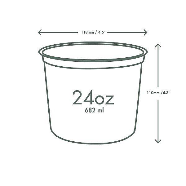 Ümmargune deli karp, PLA, 720 ml, pakis 50 tk