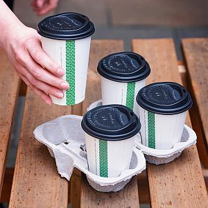 Splittable 4-cup carry tray, 160 pcs per pack