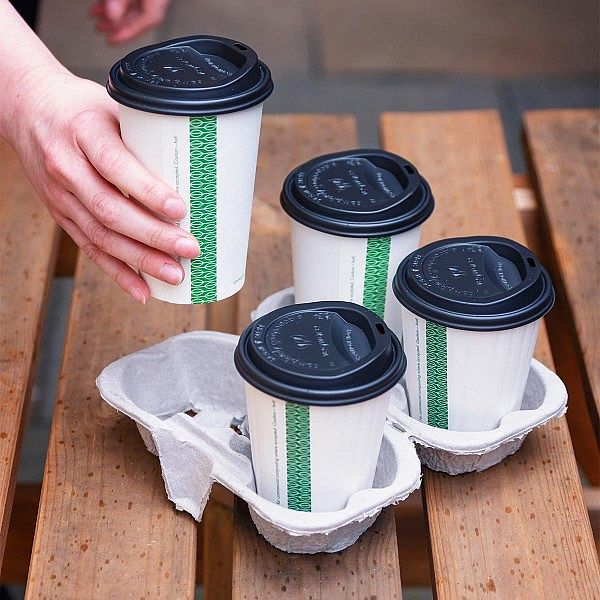 Поднос-держатель на 4 чашки, разделяемый, в пачке 160 шт
