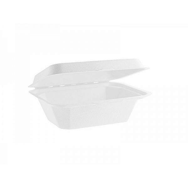 Pusdienu kārba no cukurniedru šķiedras, izmantots vairāk materiāla 180 x 130 mm, iesaiņots 50 gabali