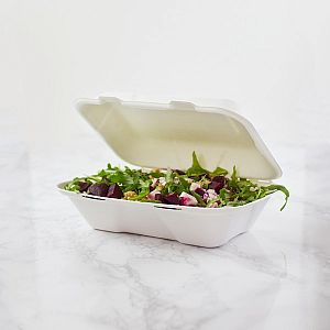 Large bagasse clamshell box, heavyweight (228 x 152 mm), 50 pcs per pack
