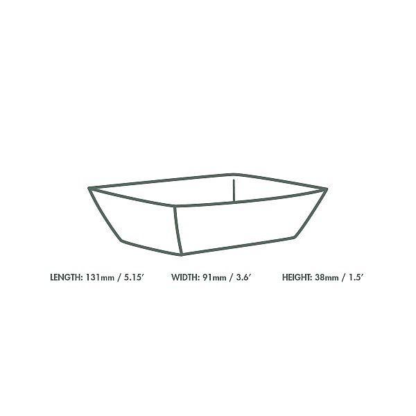 Paplāte — šķīvis no kraft papīra, 130 х 90 х 40 mm, iesaiņots 1000 gabali