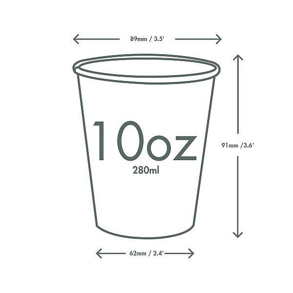 Стакан для горячих напитков из крафт-бумаги с покрытием из кукурузного крахмала, 300 мл, серия 89, в пачке 50 шт