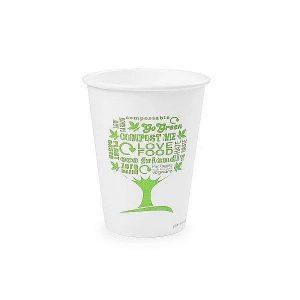 """Valged kuuma joogi topsid """"Green tree"""" logoga, 360ml, 50 tk, pakis 50 tk"""