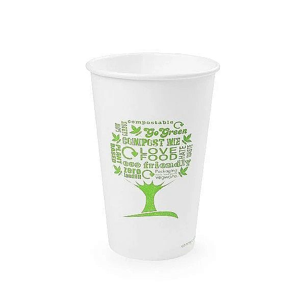 16oz white hot cup, 62-Series – Green Tree, 50 pcs per pack