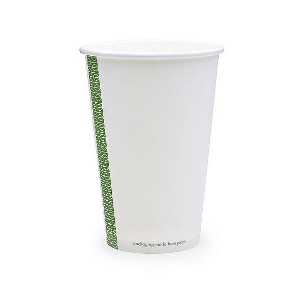 Karstā dzēriena krūze no baltā papīra, ar pārklājumu no kukurūzas cietes, 480 ml, 89. sērija, iesaiņots 50 gabali
