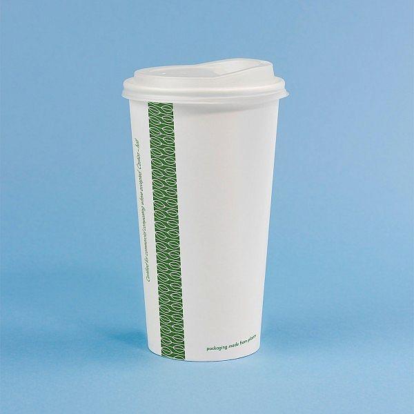Стакан для горячих напитков из белой бумаги с покрытием из кукурузного крахмала, 600 мл, белый, серия 89, в пачке 50 шт