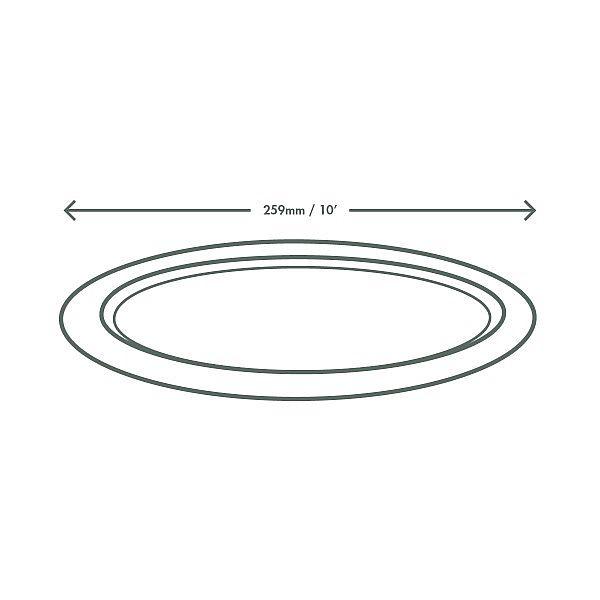 Sugarcane/bagasse oval plate, 254 mm, 50 pcs per pack