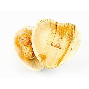 Palm  leaf dishes, heart shape, 15 cm, 25 pcs per pack