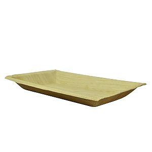 Taisnstūra šķīvis no palmu lapām, 250 x 160 mm, iesaiņots 25 gabali