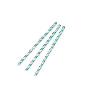 "Straw ""Standard"" with aqua stripe, PLA, 8 mm, 200 pcs per pack"