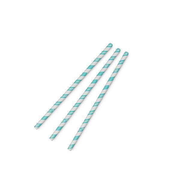 """Joogikõrs """"Jumbo"""", hele sinise triibuga, PLA, 8 mm, pakis 200 tk"""
