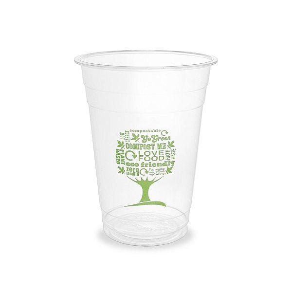 Aukstiem dzērieniem paredzēta glāze «Green Tree» no kukurūzas cietes, 480 ml, 96. sērija, iesaiņots 50 gabali