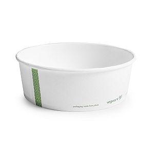 Apaļš trauks no balta papīra ar pārklājumu no kukurūzas cietes, 960 ml, 185. sērija, iesaiņots 50 gabali