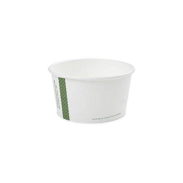 Zupas trauks no balta papīra ar pārklājumu no kukurūzas cietes, 360 ml, 115. sērija, iesaiņots 25 gabali