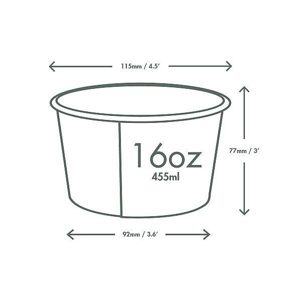 Контейнер для супа из белой бумаги с покрытием из кукурузного крахмала, 480 мл, серия 115, в пачке 25 шт