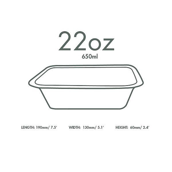 Gourmet container base, 660 ml (fits lid 3), 50 pcs per pack