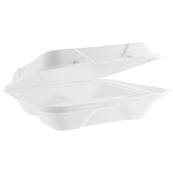 Bagasse 3-comp lunch box, 228 mm, 50 pcs per pack