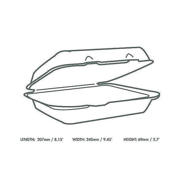 Bagasse lunch box (228 x 203 mm), 50 pcs per pack