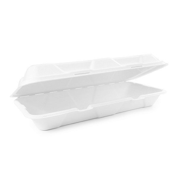 Bagasse clamshell (30 x 15 cm), 125 pcs per pack