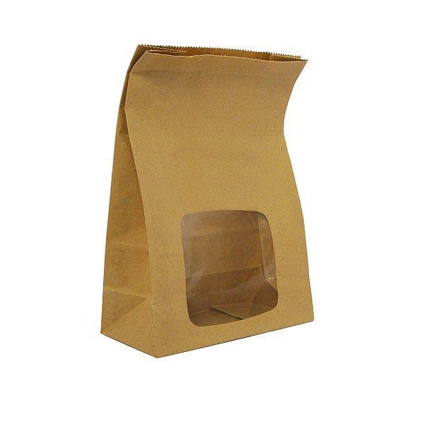 Пакет с покрытием NatureFlex из крафт-бумаги с окошком из кукурузного крахмала, 152 x 76 x 228 мм, в пачке 250 шт
