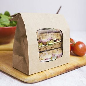 Compostable kraft bloomer bag with NatureFlex window (152 x 76 x 228 mm), 250 pcs per pack