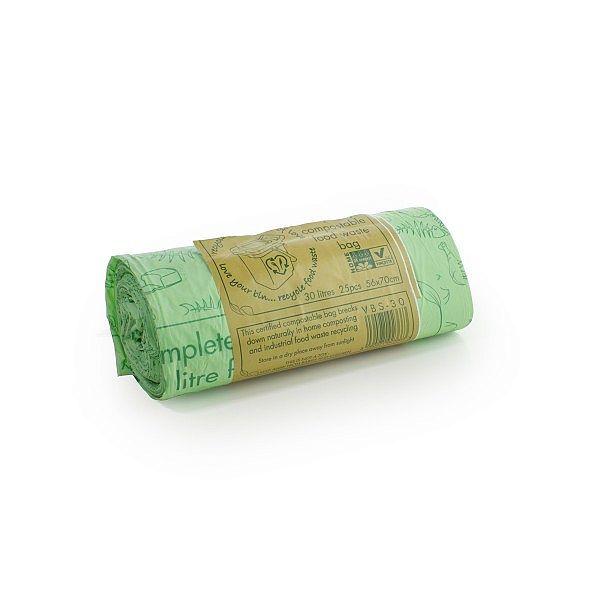 Компостируемый пакет для мусора с ручками, 30 л, в пачке 25 шт
