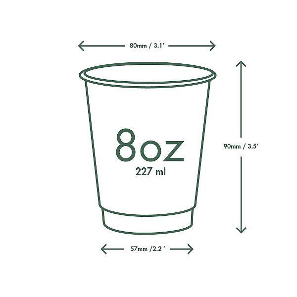 """Dubultsienu karstā dzēriena krūze """"Green Tree"""" no kraft papīra ar pārklājumu no kukurūzas cietes, 240ml, 79. sērija, iesaiņots 25 gabali"""