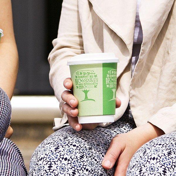 """Двухслойный стакан """"Green Tree"""" для горячих напитков из бумаги с покрытием из кукурузного крахмала, 360 мл, серия 89, в пачке 25 шт"""