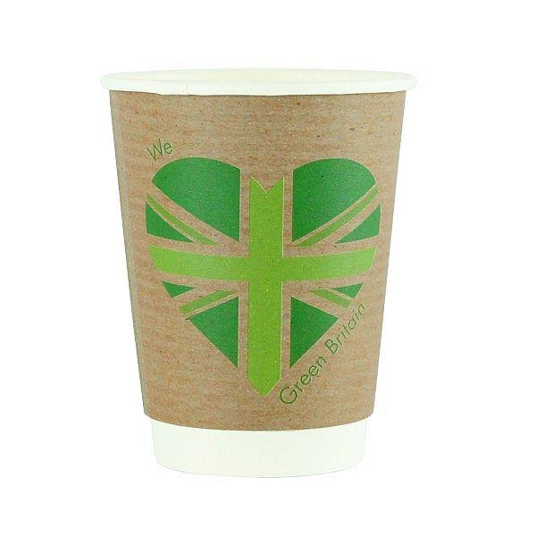 Double wall kraft cup, 360 ml, Green Britain, 89-series, 25 pcs per pack