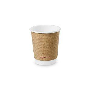 Двухслойный стакан для горячих напитков из крафт-бумаги с покрытием из кукурузного крахмала, 240 мл, серия 79, в пачке 25 шт